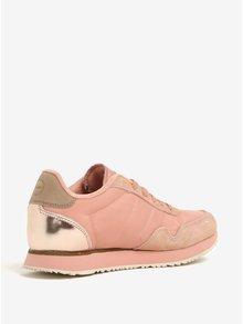 Růžové dámské tenisky s koženými detaily Woden Nora II