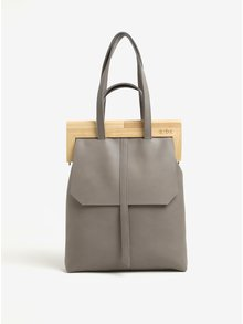 Šedá kožená kabelka s dřevěným rámem v přírodní barvě Atribut