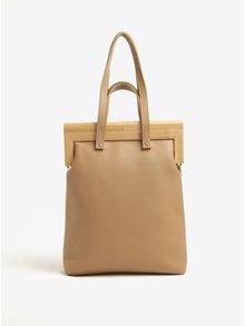 Béžová kožená kabelka s dreveným rámom v prírodnej farbe Atribut
