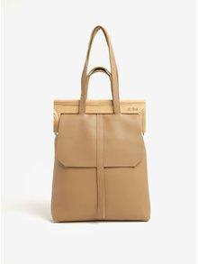 Béžová kožená kabelka s dřevěným rámem v přírodní barvě Atribut