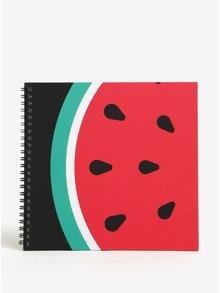 Červený zápisník s motivem melounu Fruitables
