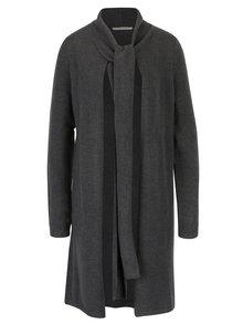 Tmavě šedý dlouhý vlněný cardigan se zavazováním u krku Skunkfunk