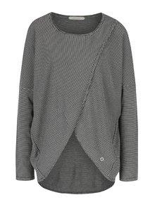 Krémovo–modrý pruhovaný sveter s prekladaným predným dielom Skunkfunk