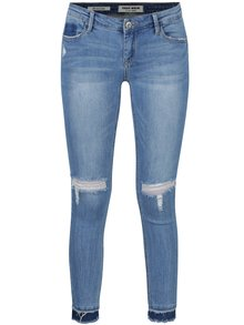 Modré zkrácené skinny džíny s nízkým pasem a potrhaným efektem TALLY WEiJL