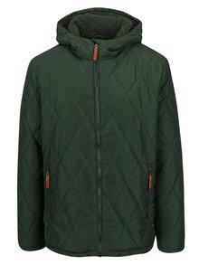 Zelená pánská zimní voděodpudivá prošívaná bunda s kapucí a umělým kožíškem LOAP Totem