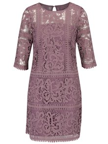 Fialové čipkované šaty s 3/4 rukávom  Little Mistress