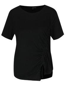Čierne asymetrické tričko so zaväzovaním TALLY WEiJL