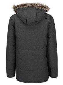 Sivá pánska zimná vodoodpudivá prešívaná bunda s kapucňou a umelým kožúškom LOAP Tron