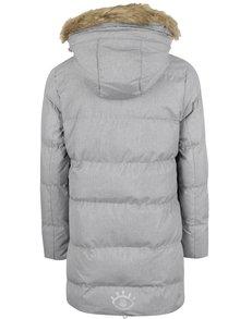 Sivý dievčenský prešívaný melírovaný zimný kabát s umelým kožúškom 5.10.15.