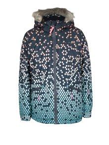 Tmavomodrá dievčenská vzorovaná zimná bunda s umelým kožúškom 5.10.15.