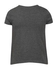 Šedé holčičí žíhané tričko s potiskem s třpytivými detaily 5.10.15.