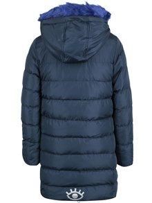 Tmavomodrý dievčenský prešívaný kabát s umelým kožúškom 5.10.15.