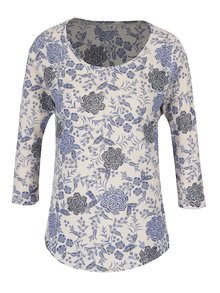 Krémové dámské květované tričko s 3/4 rukávem M&Co