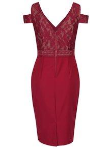 Tmavě růžové pouzdrové šaty s odhalenými rameny Little Mistress