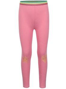 Ružové dievčenské legíny s potlačou a farebnou gumou v páse 5.10.15.