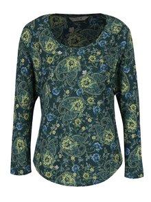 Tmavě zelené dámské květované tričko s dlouhým rukávem M&Co