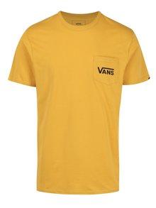 Žluté pánské tričko s potiskem na zádech VANS Classic