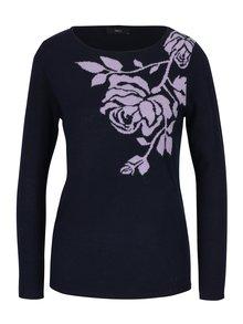 Tmavě modrý lehký dámský svetr s motivem a metalickým vzorem M&Co