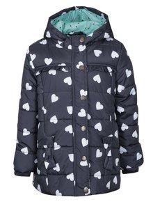Tmavě modrý holčičí prošívaný vzorovaný zimní kabát 5.10.15.