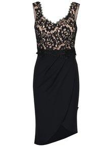 Čierne čipkované asymetrické šaty Little Mistress