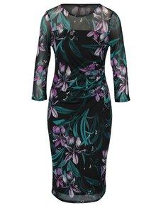 Černé květované šaty s průsvitným vrchním dílem M&Co