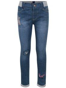 Modré holčičí džíny s pružným pasem a výšivkami 5.10.15.