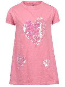 Růžové holčičí tričko s flitry ve tvaru srdce 5.10.15.