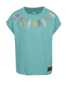 Modré holčičí žíhané tričko s potiskem 5.10.15.