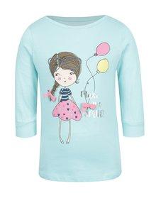 Tyrkysové dievčenské tričko s potlačou a 3/4 rukávom 5.10.15.