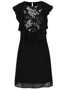 Čierne šaty s čipkovanými detailmi Little Mistress