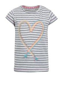 Šedé holčičí pruhované žíhané tričko s výšivkou 5.10.15.