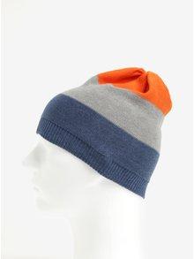 Oranžovo-modrá chlapčenská pruhovaná čiapka 5.10.15.