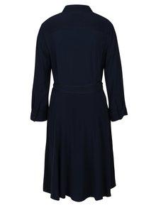 Tmavomodré košeľové šaty s 3/4 rukávom Tommy Hilfiger