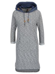 Modro-krémové žíhané mikinové šaty s kapucí Ragwear Bess