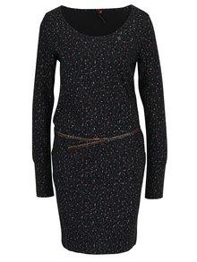 Černé vzorované šaty s páskem Ragwear Montana