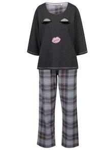 Tmavě šedé kárované pyžamo Dorothy Perkins