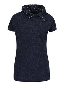 Tmavomodré dámske melírované tričko s vysokým golierom Ragwear Highway