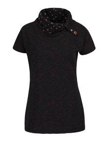 Čierne dámske melírované tričko s vysokým golierom Ragwear Highway