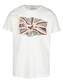 Biele pánske regular tričko s potlačou Pepe Jeans FLAG TEE