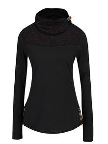 Čierne dámske tričko s vysokým golierom a gombíkmi Ragwear Willow