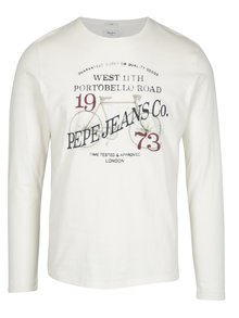 Krémové pánske slim tričko s dlhým rukávom Pepe Jeans AVENUE
