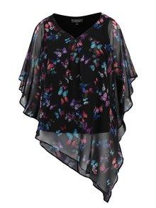 Bluza neagra cu print floral si model asimetric Billie & Blossom