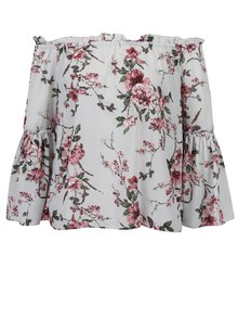 Bluza gri deschis cu model floral, umeri expusi si maneci clopot Dorothy Perkins Petite