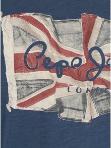 Tmavě modré pánské regular tričko s dlouhým rukávem Pepe Jeans FLAG TEE
