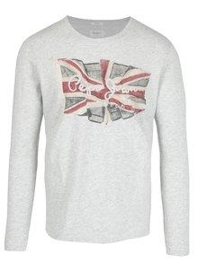 Sivé pánske melírované regular tričko s dlhým rukávom Pepe Jeans FLAG TEE
