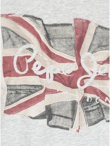 Šedé pánské žíhané regular tričko s dlouhým rukávem Pepe Jeans FLAG TEE