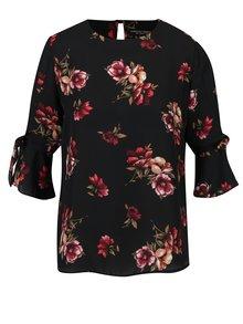 Bluza neagra cu print floral si maneci cu volane Dorothy Perkins
