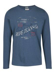 Modré pánske slim tričko s dlhým rukávom Pepe Jeans AVENUE