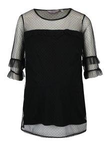 Bluza neagra cu maneci 3/4 din plasa cu buline Dorothy Perkins Maternity