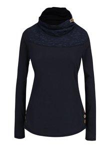 Tmavomodré dámske tričko s vysokým golierom a gombíkmi Ragwear Willow